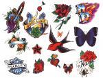 Vlaštovka Motýl Růže Harley-Davidson Srdce Dýka